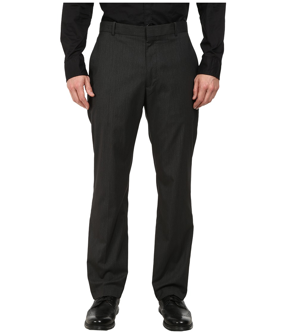 Perry Ellis - Fine Stripe Flat Front Dress Pants (Black) Men's Dress Pants