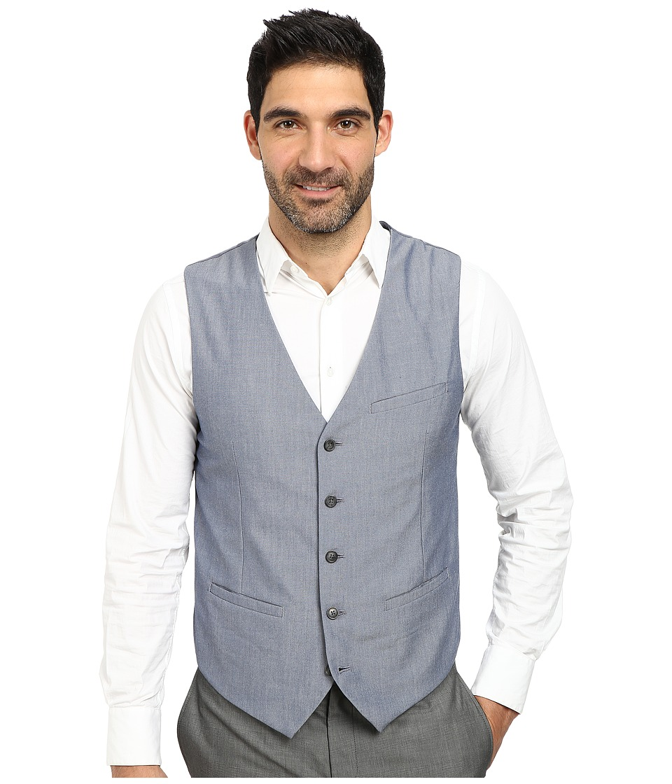 Perry Ellis - Sharkskin Suit Vest (Bering Sea) Men