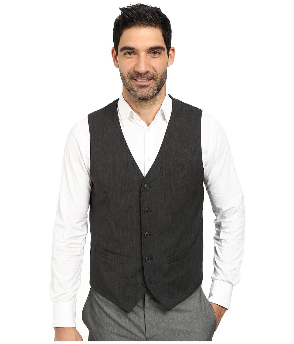 Perry Ellis - Fine Stripe 5-Button Vest (Black) Men