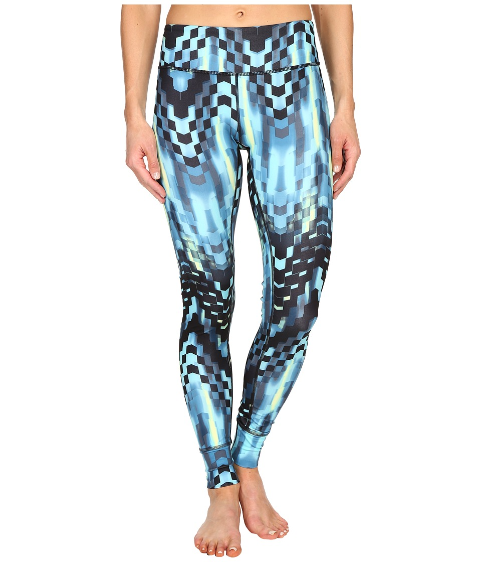 ASICS - Performance Run Printed Tights (Turquoise Checkered Print) Women's Casual Pants