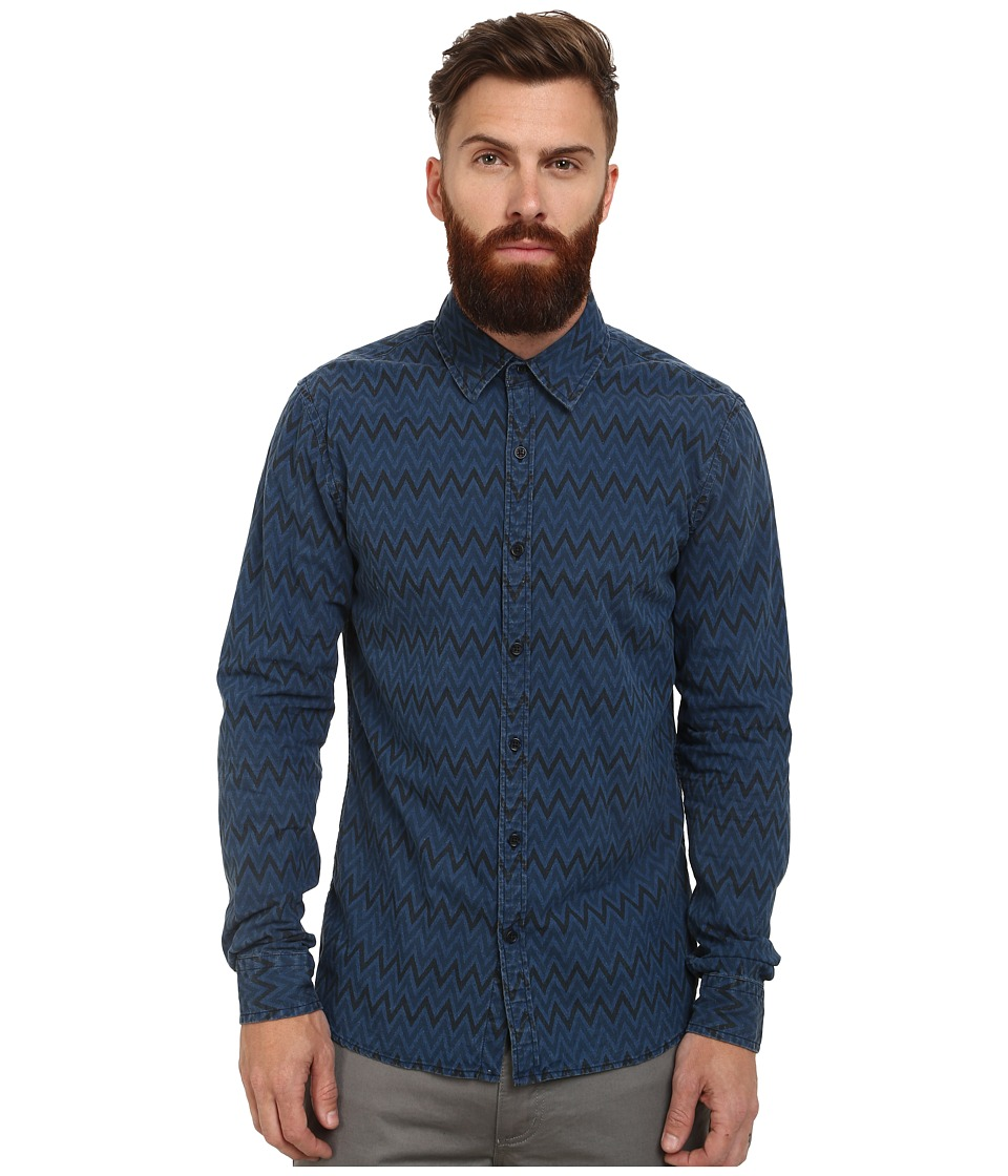 Scotch & Soda - Radio Blauw Allover Printed Shirt (Indigo) Men's Long Sleeve Button Up