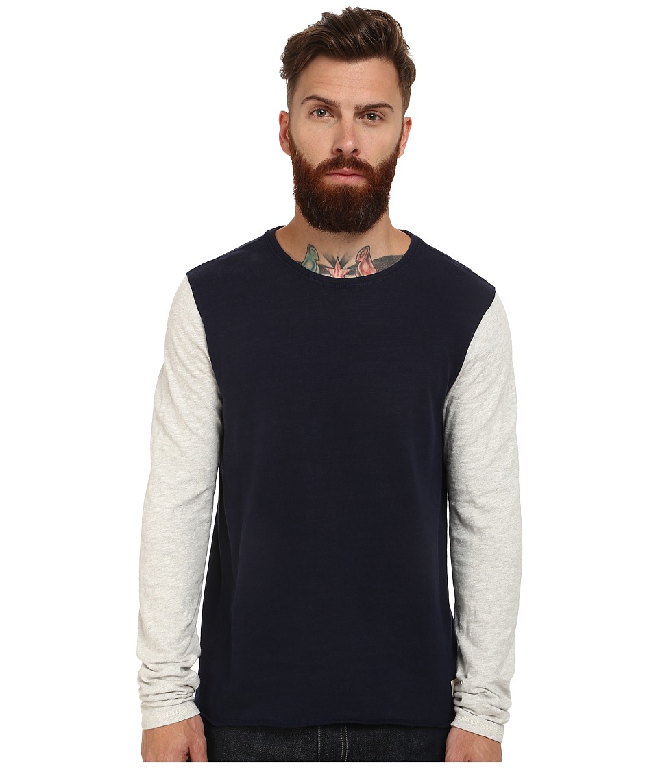 Scotch & Soda - Home Alone Long Sleeve Tee (Navy/Grey) Men