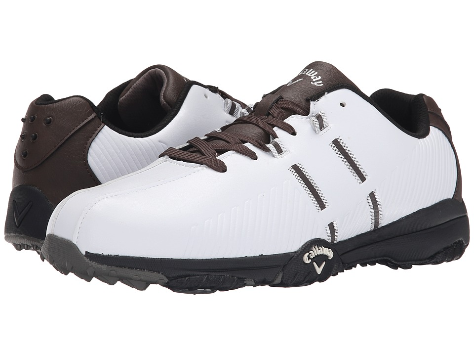 Callaway - Chev Comfort (White/Brown/Black) Men's Golf Shoes