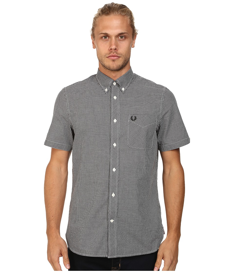 Fred Perry - Classic Gingham Shirt (Black) Men's Clothing
