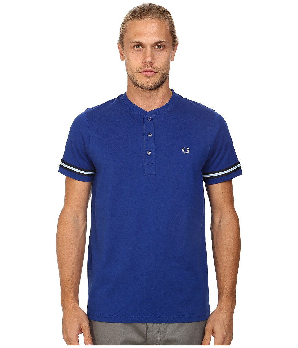 Fred Perry - Henley T-Shirt (Graphic Blue) Men's T Shirt