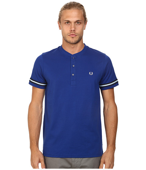 Fred Perry - Henley T-Shirt (Graphic Blue) Men