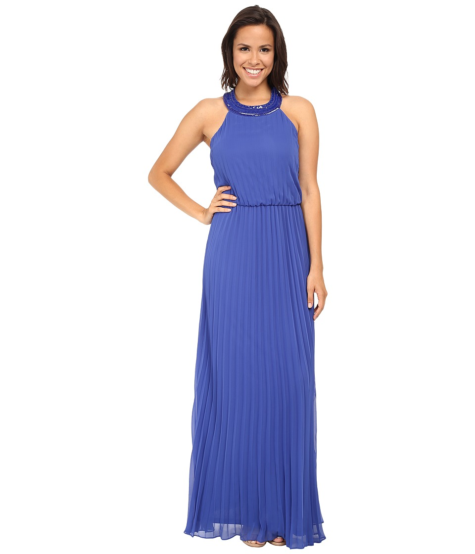 Jessica Simpson - Pleated Chiffon Gown w/ T-Back (Blue) Women's Dress