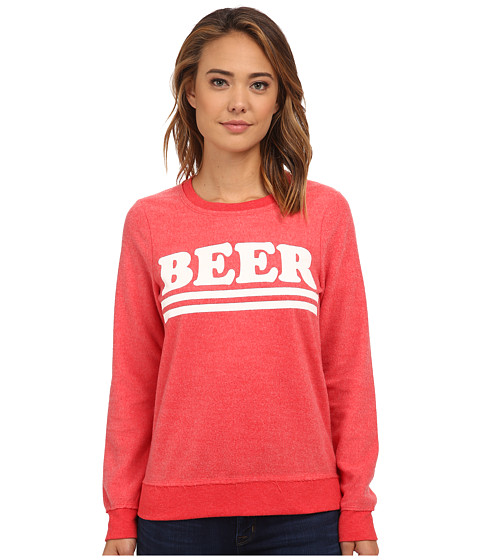 Chaser - Beer Crew Neck Long Sleeve Panel Tee (Redwing) Women