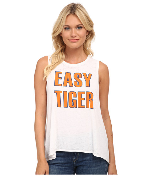 Chaser - Easy Tiger Flounce Jersey Tank Top (White) Women's Sleeveless