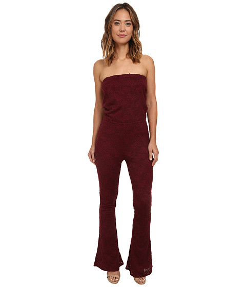 Chaser - Open Back Strapless Lace Jumpsuit (Vino) Women's Jumpsuit & Rompers One Piece