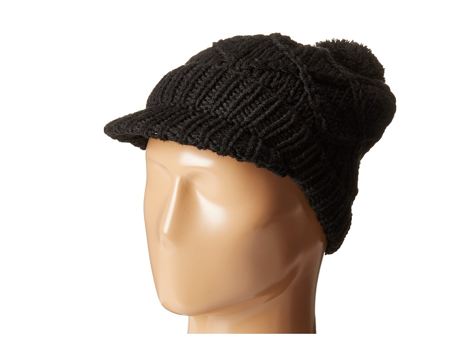 Hat Attack - Knit Cap with Pom (Black) Caps