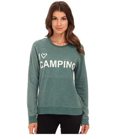 Chaser - I Heart Camping Crew Neck Long Sleeve Panel Tee (Camp) Women