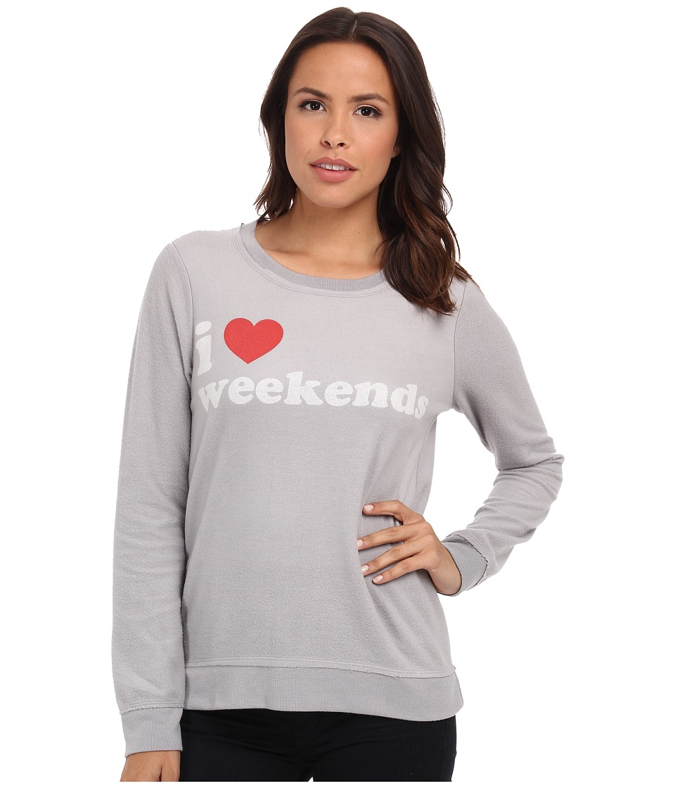 Chaser - I Heart Weekends Crew Neck Long Sleeve Panel Tee (Platinum) Women's T Shirt