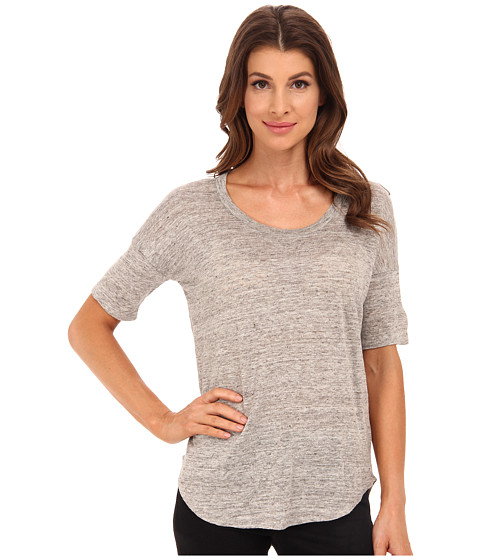 Chaser - Elbow Sleeve Boxy Shirttail Scoop Linen Tee (Heather Grey) Women's T Shirt