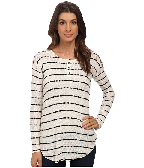 Chaser - Long Sleeve Striped Thermal Henley Tee (Natural/Black) Women