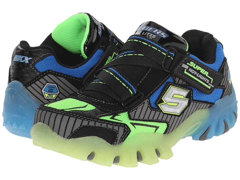 SKECHERS KIDS - Street Lightz 90479L Lights (Little Kid) (Black/Blue/Lime) Boys Shoes