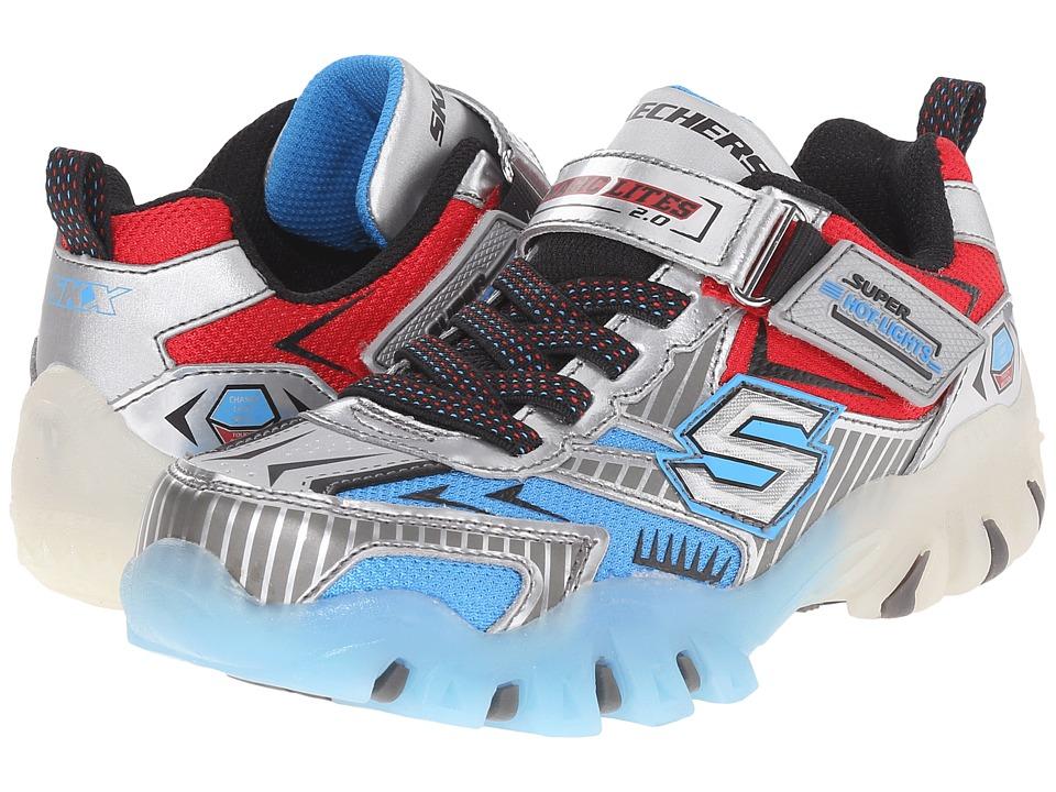 SKECHERS KIDS - Street Lightz 90481L Lights (Little Kid) (Silver/Blue) Boys Shoes