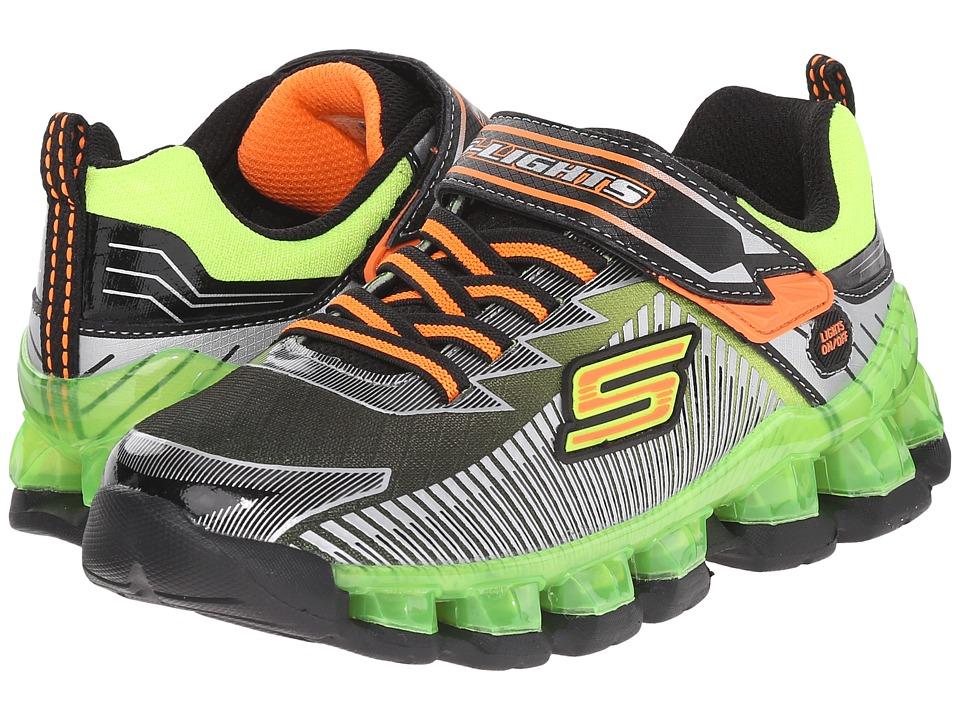 SKECHERS KIDS - Lighted Gore Strap 90293L Lights (Little Kid) (Black/Lime) Boys Shoes