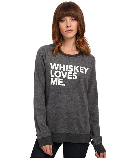 Chaser - Whiskey Loves Me Crew Neck Long Sleeve Panel Tee (Black) Women
