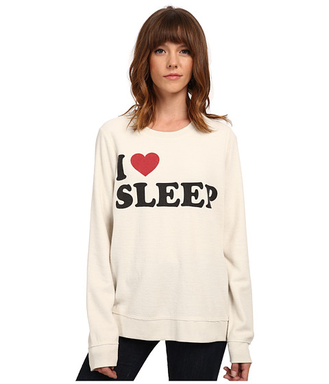 Chaser - I Heart Sleep Crew Neck Long Sleeve Panel Tee (Antique White) Women
