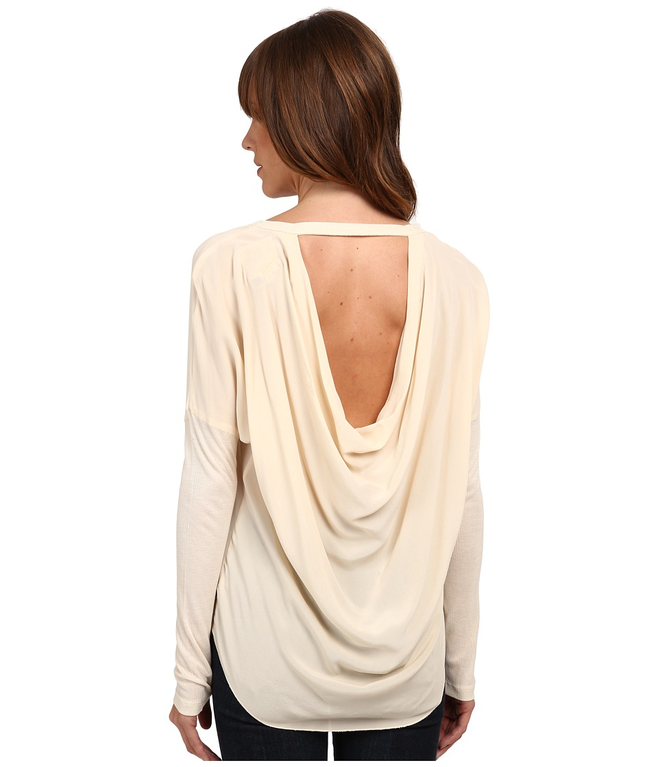 Chaser - Long Sleeve Drape Back Silk Dolman (Vanilla) Women's Blouse