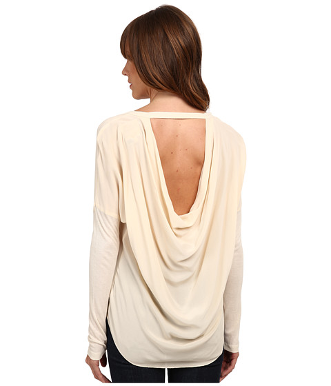 Chaser - Long Sleeve Drape Back Silk Dolman (Vanilla) Women