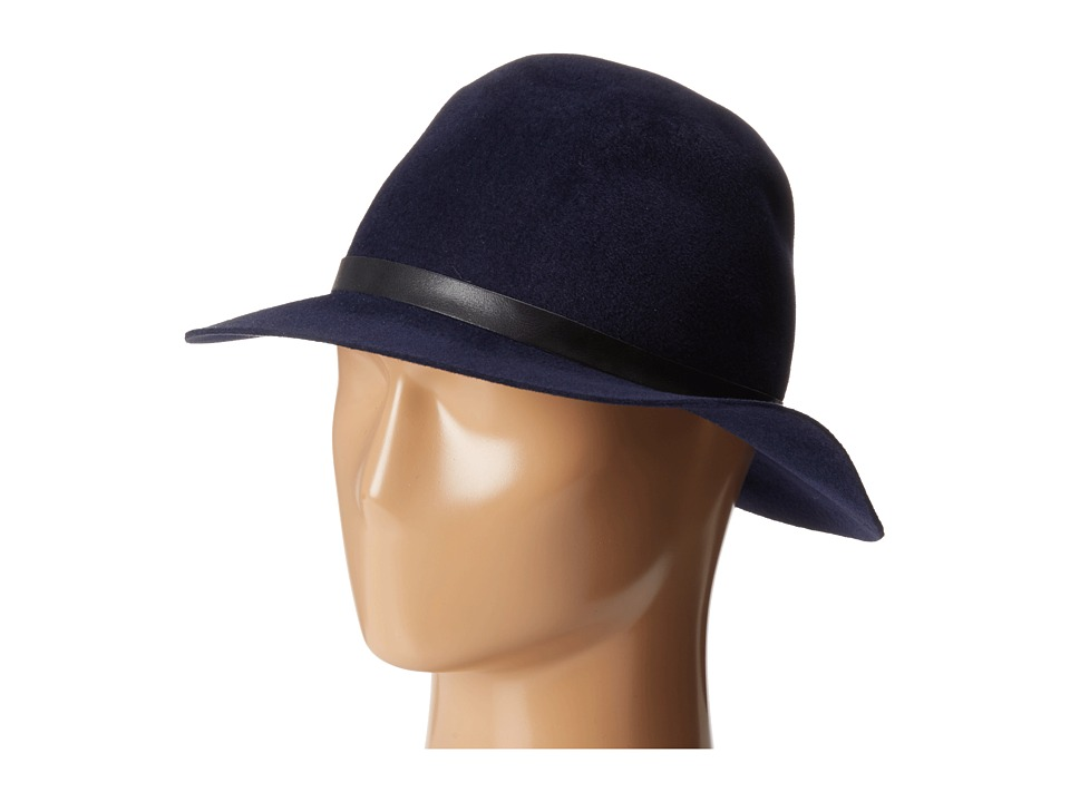 Hat Attack - Velour Luxury Classic Fedora (Navy/Black Buckle Band) Fedora Hats
