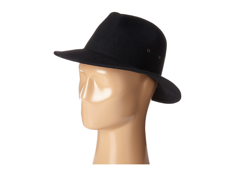 Hat Attack - Wool Felt with Grommets (Black) Traditional Hats