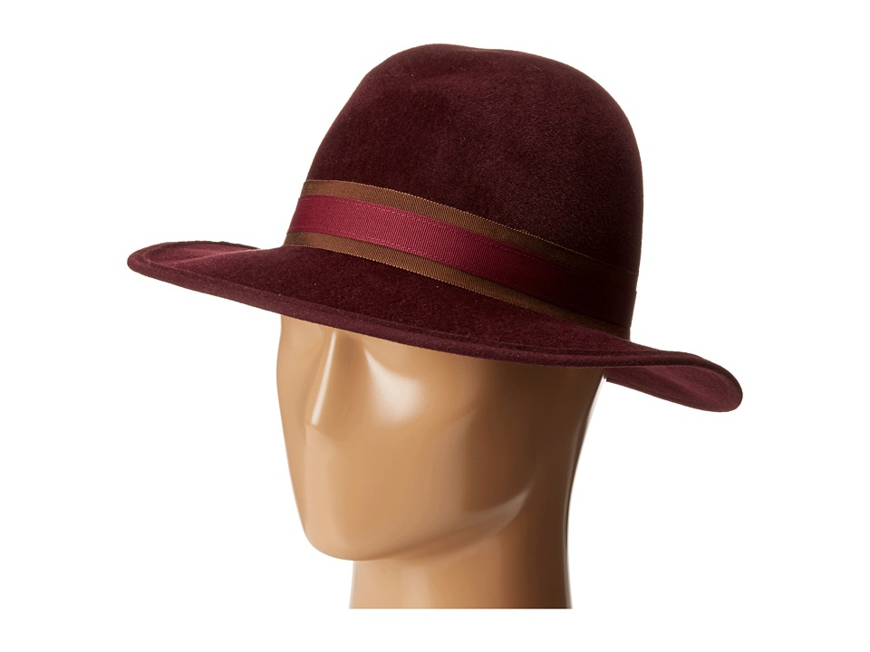 Hat Attack - Velour Luxury Medium Brim (Burgundy/Chestnut/Burgundy) Traditional Hats