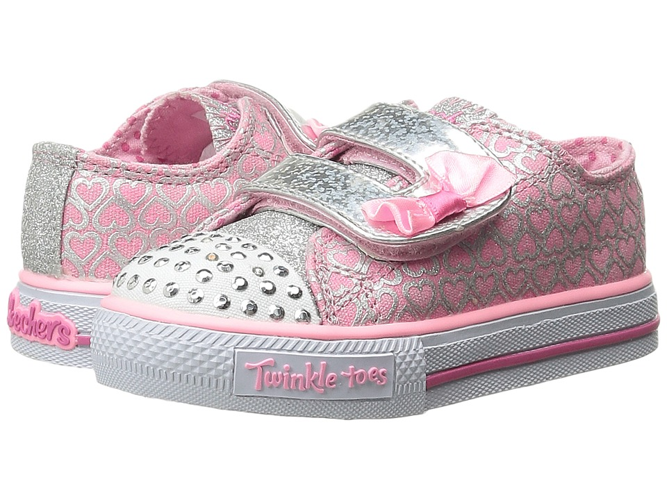 SKECHERS KIDS - Shuffles 10576N Lights (Toddler/Little Kid) (Pink/Silver) Girls Shoes