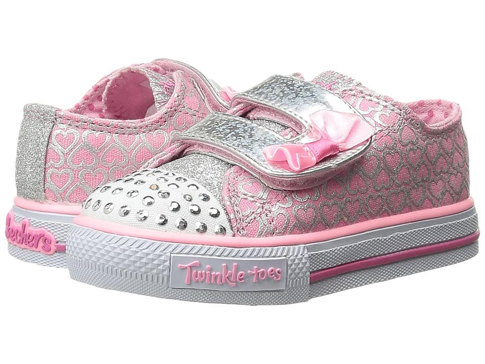 SKECHERS KIDS - Shuffles 10576N Lights (Toddler/Little Kid) (Pink/Silver) Girls Shoes