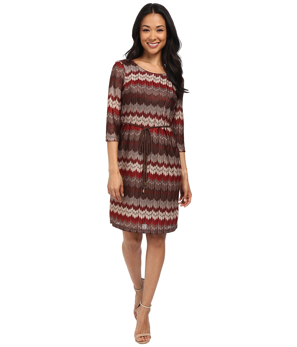 rsvp - Jessica Belted Pattern Dress (Neutral/Brown/Rust) Women's Dress
