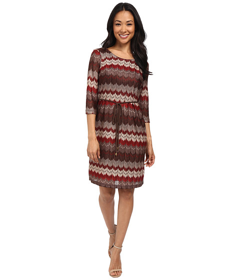 rsvp - Jessica Belted Pattern Dress (Neutral/Brown/Rust) Women