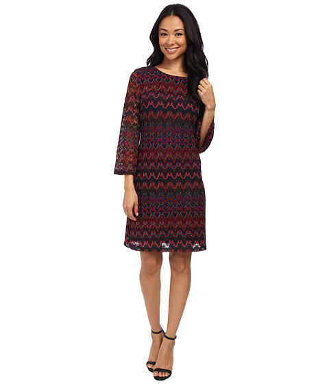 rsvp - Lauren Long Sleeve Patterned Dress (Navy/Wine Multi) Women