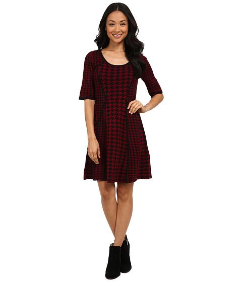 rsvp - Macy Houndstooth Sweater Dress (Black/Bordeux) Women