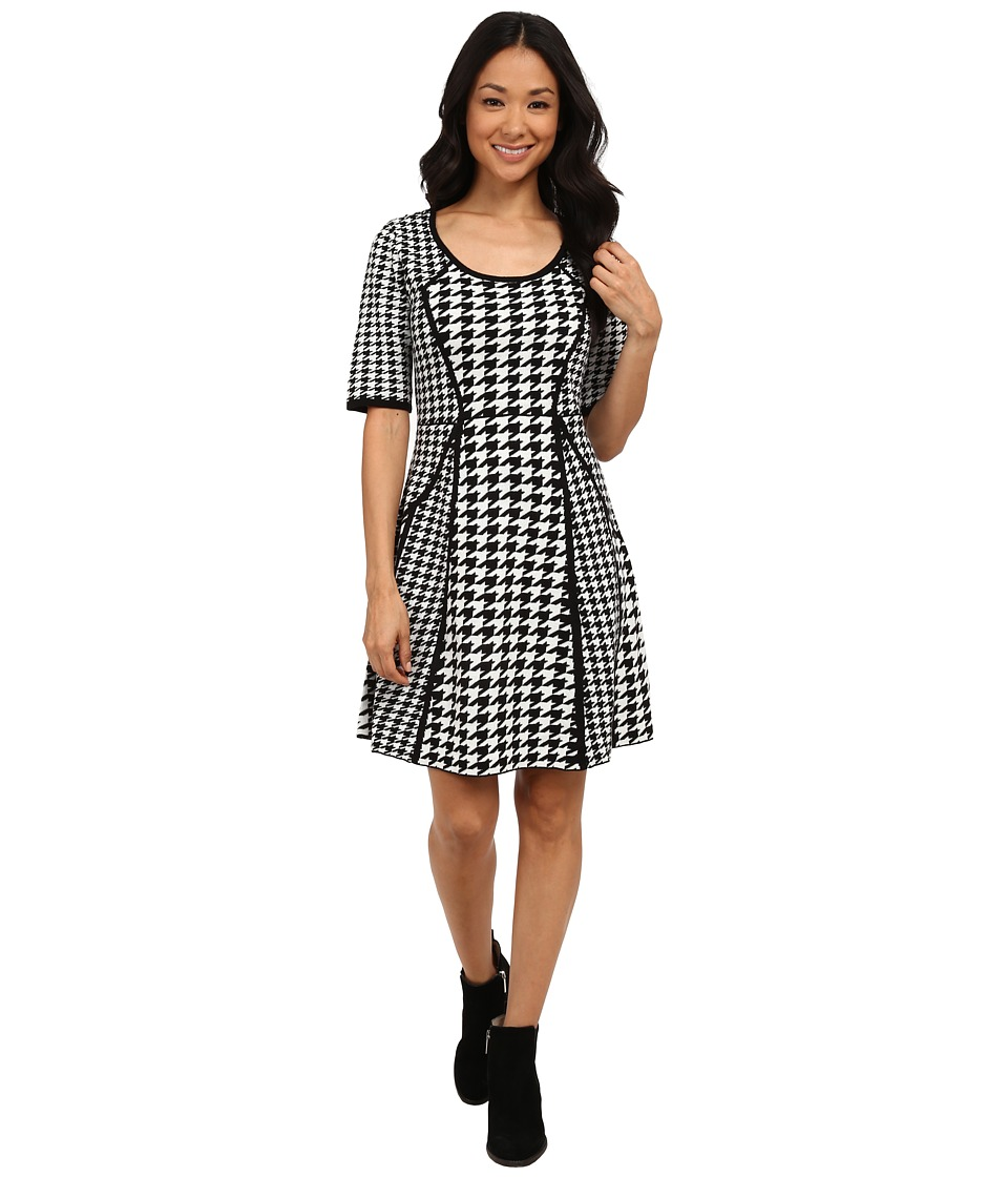 rsvp - Macy Houndstooth Sweater Dress (Black/Ivory) Women's Dress