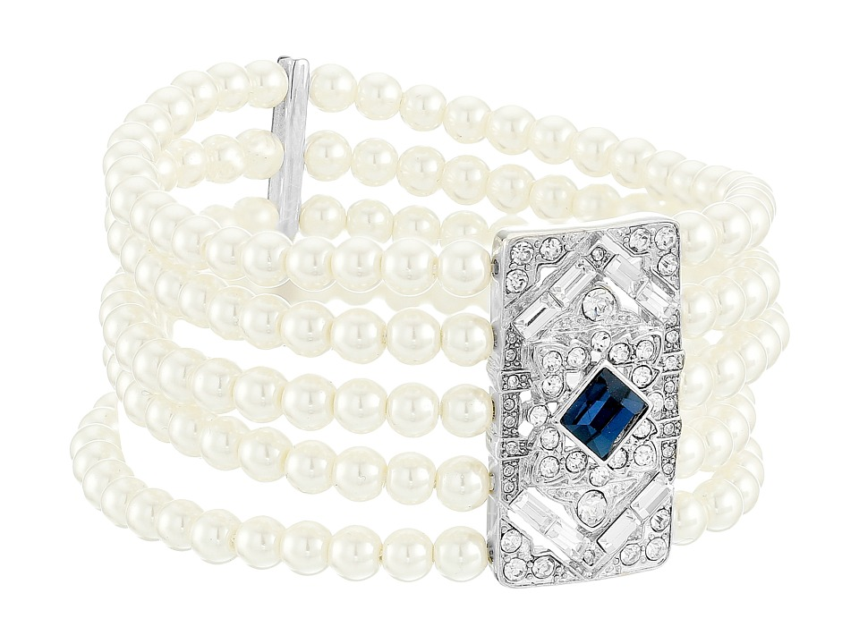 LAUREN by Ralph Lauren - Five Row 6mm Pearl with Deco Crystal Stretch Bracelet (White) Bracelet