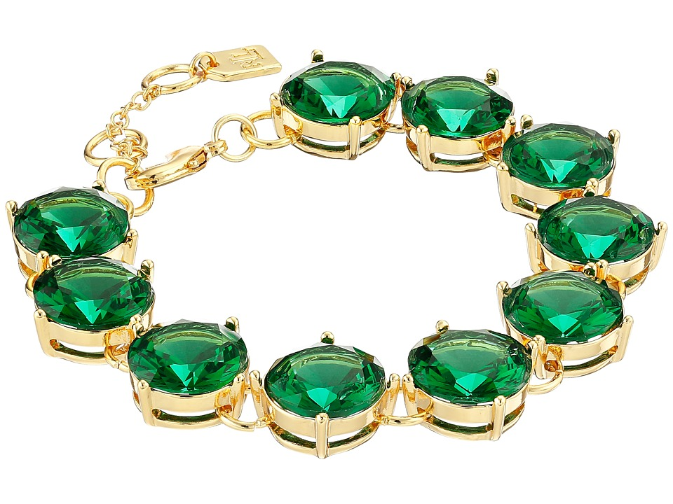 LAUREN by Ralph Lauren - Large Faceted Round Stone with Lobster Closure Bracelet (Green) Bracelet