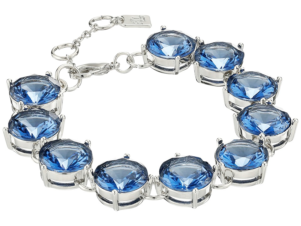 LAUREN by Ralph Lauren - Large Faceted Round Stone with Lobster Closure Bracelet (Blue) Bracelet