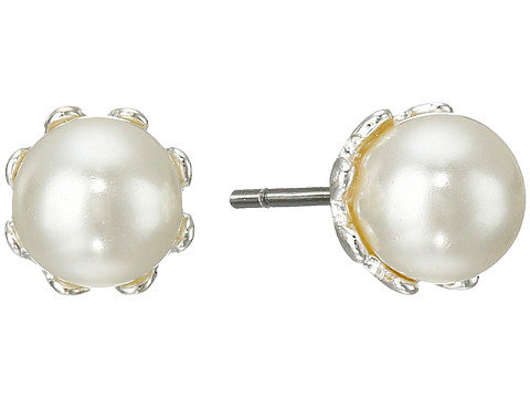 LAUREN by Ralph Lauren - 6mm Prong Set Pearl Stud Earrings (White) Earring