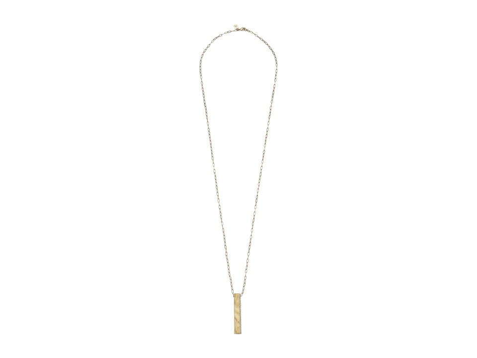 LAUREN by Ralph Lauren - 36 in Chain Bar Pave Pendant with Lobster Closure Necklace (White) Necklace