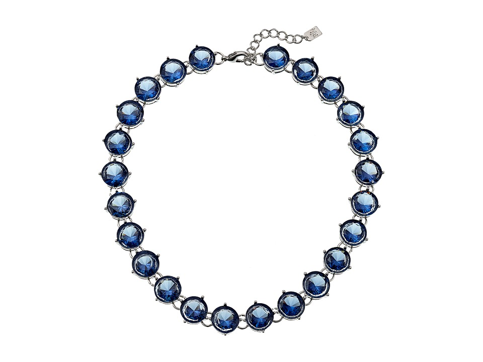 LAUREN by Ralph Lauren - 21 in Large Faceted Round Stone with Lobster Closure Necklace (Blue) Necklace