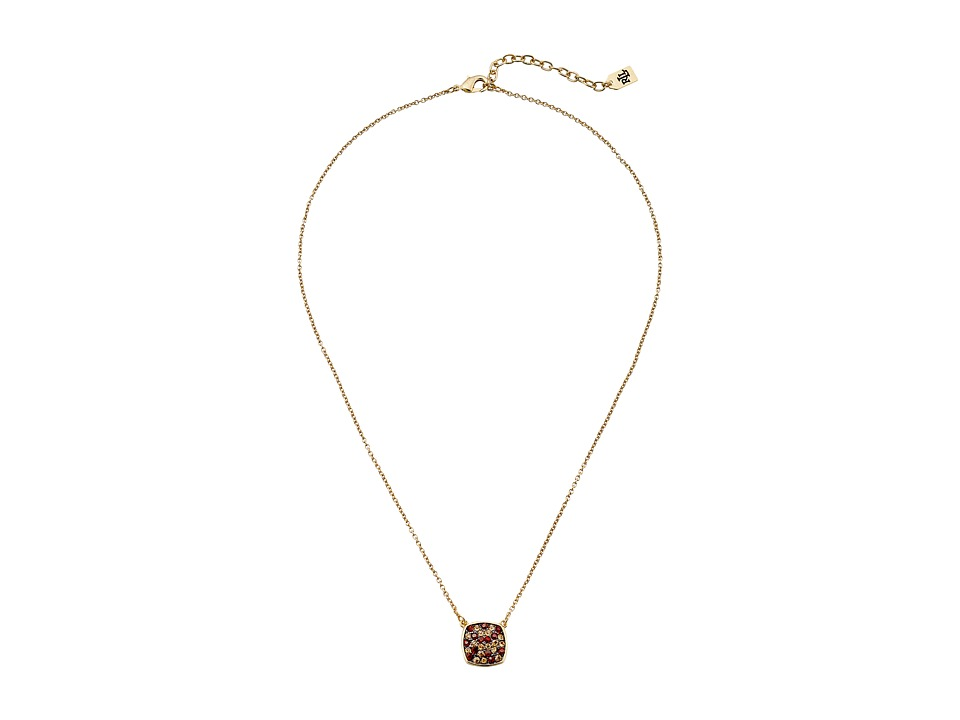 LAUREN by Ralph Lauren - 18 in Chain with Pave Cushion Pendant with Lobster Closure Necklace (Brown) Necklace