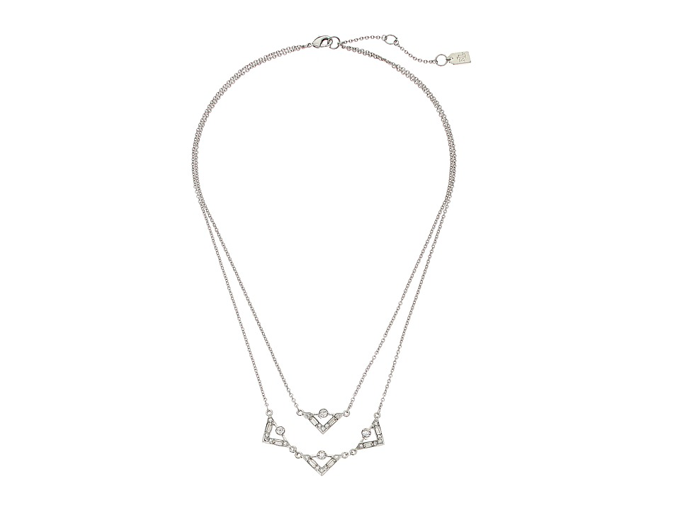LAUREN by Ralph Lauren - Two Row 18-20 in Chain Deco Pave Pendant with Lobster Closure Necklace (White) Necklace