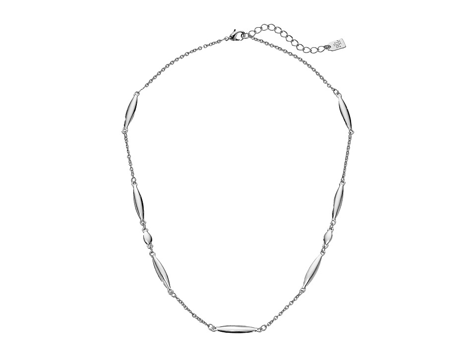 LAUREN Ralph Lauren - 18 Adjustable Silver Chain Necklace with Navette Stations and Lobster Closure (Gray) Necklace