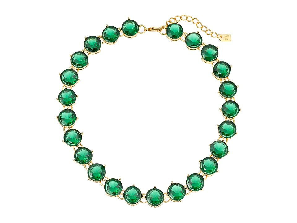 LAUREN by Ralph Lauren - 19 in Large Faceted Round Stone with Lobster Closure Necklace (Green) Necklace