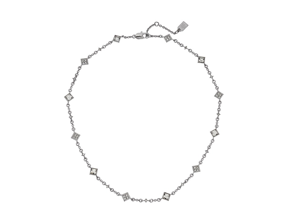 LAUREN by Ralph Lauren - 18 in Square Faceted Stones with Lobster Closure Necklace (White 1) Necklace