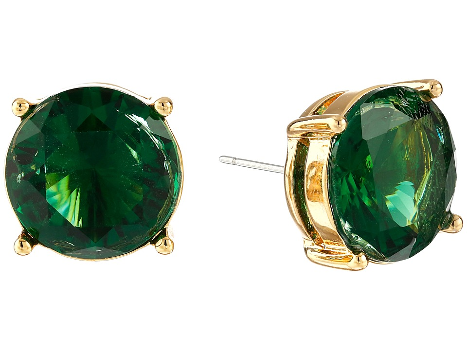 LAUREN by Ralph Lauren - Large Faceted Round Stone Stud Earrings (Green) Earring