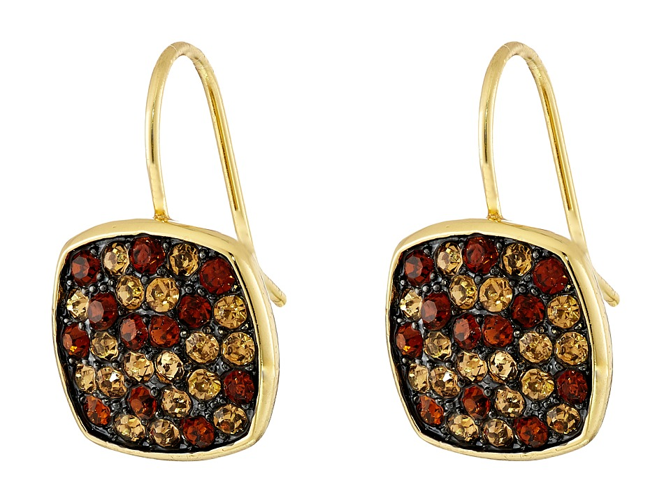 LAUREN by Ralph Lauren - Pave Cushion Drop Earrings (Brown) Earring