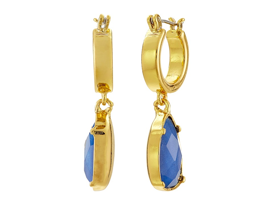 LAUREN by Ralph Lauren - Small Clickit Hoop Faceted Stone Drop Earrings (Blue) Earring